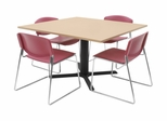 "48""x48"" Table and 4 Zeng Stack Chairs Set - TBS48BESC44"