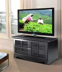 49 Inch TV Console with 2 Glass Doors in Black - Pinnacle - Nexera Furniture - 100406