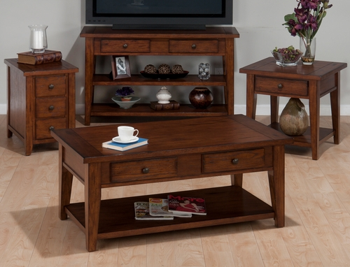 4PC Accent Table Set in Clay County Oak - 443-1