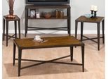 4PC Accent Table Set in Glenna Elm and Black Metal - 703-1