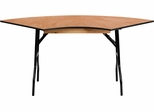 5.5 ft. x 2.5 ft. Serpentine Wood Folding Banquet Table - YT-WSFT48-30-SP-GG