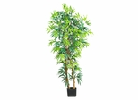 5' Curved Bamboo Silk Tree in Green - Nearly Natural - 5187