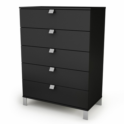 5-Drawer Chest in Solid Black - Spark - South Shore Furniture - 3270035