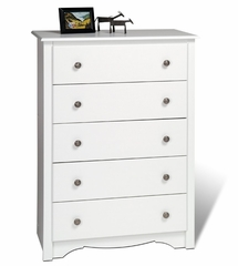 5 Drawer Chest in White - Monterey Collection - Prepac Furniture - WDC-3345