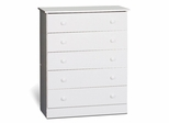 5 Drawer Chest in White - Prepac Furniture - WHD-3038-5