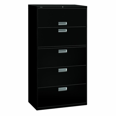 5 Drawer Locking Lateral File Cabinet in Black - HON685LP