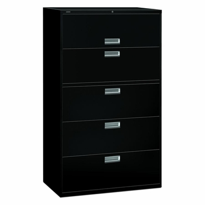5 Drawer Locking Lateral File Cabinet in Black - HON695LP