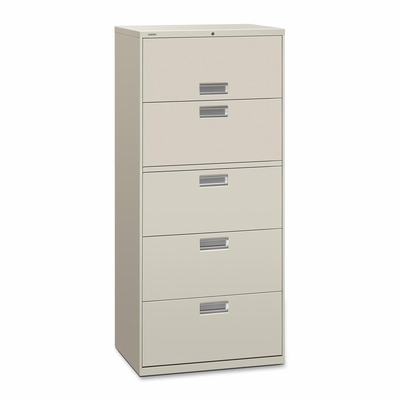 5 Drawer Locking Lateral File Cabinet in Light Charcoal - HON675LQ