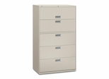 5 Drawer Locking Lateral File Cabinet in Light Gray - HON695LQ
