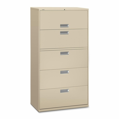 5 Drawer Locking Lateral File Cabinet in Putty - HON685LL