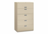 5 Drawer Locking Lateral File Cabinet in Putty - HON695LL