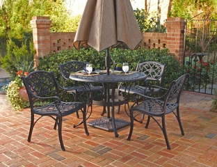 5-Piece 42 Inch Round Outdoor Dining Set in Black - Home Styles - 5554-308