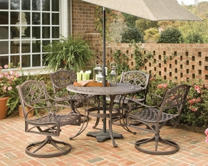5-Piece 42 Inch Round Outdoor Dining Set in Rust Brown - Home Styles - 5555-305