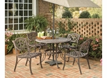 5-Piece 42 Inch Round Outdoor Dining Set in Rust Brown - Home Styles - 5555-308