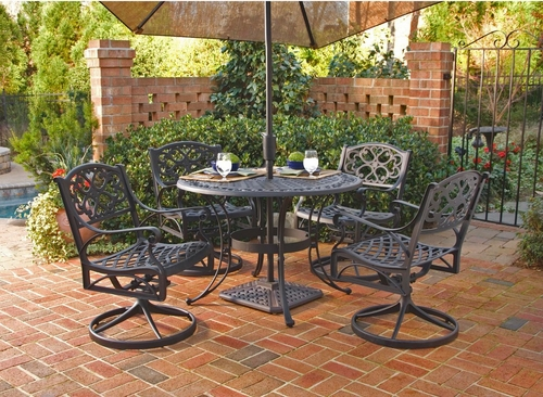 5-Piece 48 Inch Round Outdoor Dining Set in Black - Home Styles - 5554-325