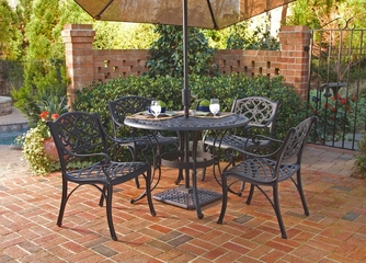 5-Piece 48 Inch Round Outdoor Dining Set in Black - Home Styles - 5554-328