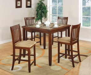5-Piece Counter Height Table Set in Cherry - Coaster - 150154