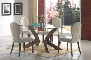 5-Piece Dining Set in Medium Walnut / Light Gray - Coaster - 120361-2-DSET