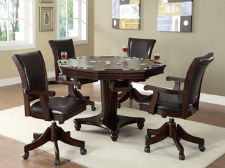 5 Piece Game Table & Chair Set in Dark Mahogany - 100883