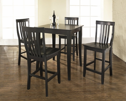 5-Piece Pub Dining Set with Cabriole Leg and School House Stools in Black Finish - Crosley Furniture - KD520003BK