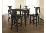 5-Piece Pub Dining Set with Cabriole Leg and Shield Back Stools in Black Finish - Crosley Furniture - KD520002BK