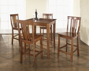 5-Piece Pub Dining Set with Cabriole Leg and Shield Back Stools in Classic Cherry Finish - Crosley Furniture - KD520002CH