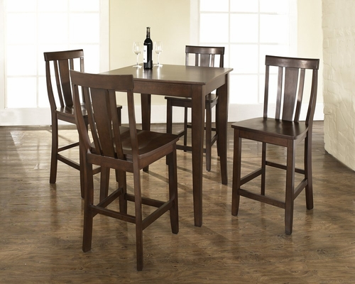 5-Piece Pub Dining Set with Cabriole Leg and Shield Back Stools in Vintage Mahogany Finish - Crosley Furniture - KD520002MA