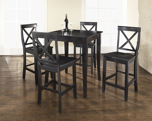5-Piece Pub Dining Set with Cabriole Leg and X-Back Stools in Black Finish - Crosley Furniture - KD520001BK