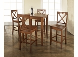 5-Piece Pub Dining Set with Cabriole Leg and X-Back Stools in Classic Cherry Finish - Crosley Furniture - KD520001CH