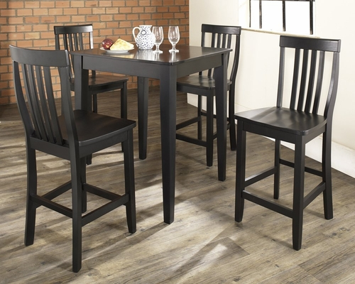 5-Piece Pub Dining Set with Tapered Leg and School House Stools in Black Finish - Crosley Furniture - KD520007BK