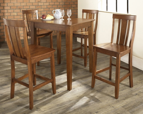 5-Piece Pub Dining Set with Tapered Leg and Shield Back Stools in Classic Cherry Finish - Crosley Furniture - KD520006CH