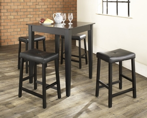 5-Piece Pub Dining Set with Tapered Leg and Upholstered Saddle Stools in Black Finish - Crosley Furniture - KD520008BK