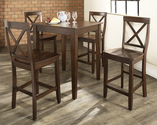 5-Piece Pub Dining Set with Tapered Leg and X-Back Stools in Vintage Mahogany Finish - Crosley Furniture - KD520005MA