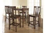 5-Piece Pub Dining Set with Turned Leg and School House Stools in Vintage Mahogany Finish - Crosley Furniture - KD520011MA