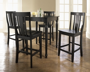 5-Piece Pub Dining Set with Turned Leg and Shield Back Stools in Black Finish - Crosley Furniture - KD520010BK