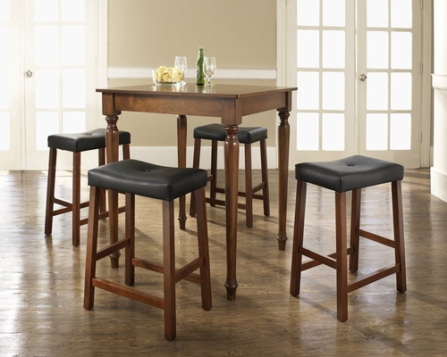 5-Piece Pub Dining Set with Turned Leg and Upholstered Saddle Stools in Classic Cherry Finish - Crosley Furniture - KD520012CH