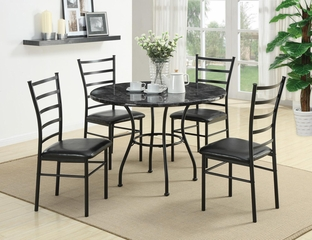 5 Piece Round Dining Set with 4 Side Chairs in Black - 150113