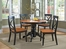 5-Piece Round Pedestal Dining Set in Black / Cottage Oak - Home Styles - 5168-318