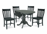 "5-Piece Set - 42"" Dual Drop Leaf Table with 4 Schoolhouse Chairs in Black - K46-42DP-C61P-2"