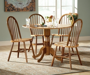 "5-Piece Set - 42"" Dual Drop Leaf Table with 4 Windsor Chairs in Cinnamon / Espresso - K58-42DP-C212-4"