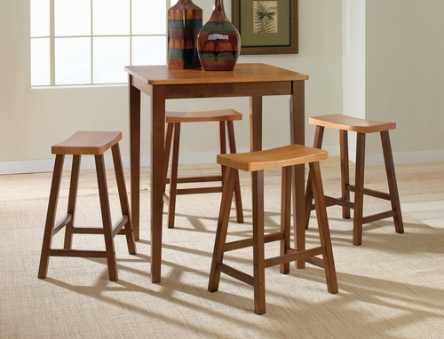 5-Piece Set - Gathering Height Table with 4 Saddle Stools in Cinnamon / Espresso - K58-3030-S682-4