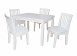 5-Piece Set - Table with 4 Mission Juvenile Chairs in Linen White - K08-2532-263-4