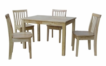 5-Piece Set - Table with 4 Mission Juvenile Chairs in Natural - K01-2532-263-4