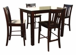 5-Piece Set - Table with 4 San Remo Counter Height Stools in Java - K15-3048-S102-4
