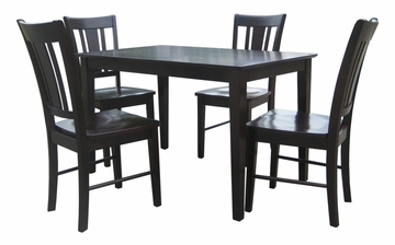 5-Piece Set - Table with 4 San Remo Splatback Chairs in Java - K15-3048-C102-4