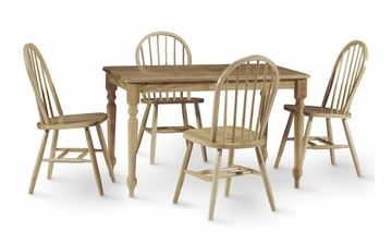 5-Piece Set - Table with 4 Windsor High Spindleback Chairs in Natural - K01-3048-C212-4