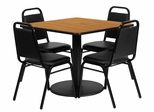 5 Piece Square Natural Table & 4 Trapezoidal Back Chairs Set - RSRB1011-GG