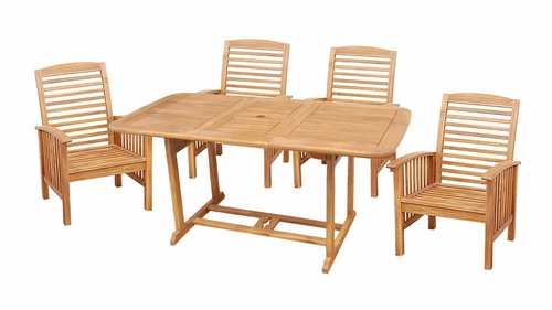 5-Piece Wood Extendable Table Patio Set in Natural Brown - OW5SBR-NC