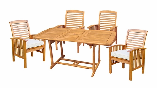 5-Piece Wood Extendable Table Patio Set with Cushions in Natural Brown - OW5SBR