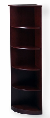5 Shelf 1/4 Round Bookcase in Mahogany - Mayline Office Furniture - VBQ5MAH